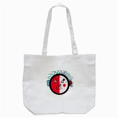 Angry Transparent Face Tote Bag (white) by Valentinaart