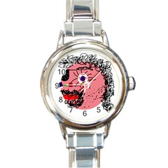 Abstract Face Round Italian Charm Watch by Valentinaart