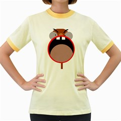 Funny Face Women s Fitted Ringer T Shirts by Valentinaart