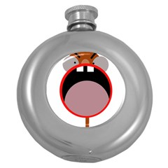 Funny Face Round Hip Flask (5 Oz) by Valentinaart
