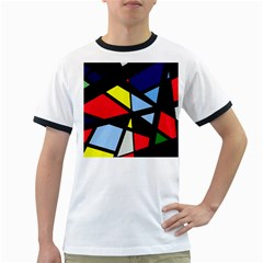 Colorful Geomeric Desing Ringer T Shirts by Valentinaart