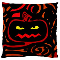 Halloween Pumpkin Large Flano Cushion Case (one Side) by Valentinaart