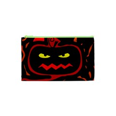 Halloween Pumpkin Cosmetic Bag (xs) by Valentinaart