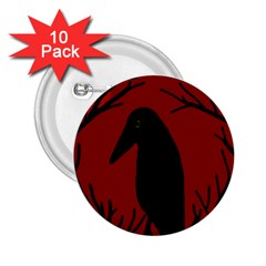 Halloween Raven   Red 2 25  Buttons (10 Pack)  by Valentinaart