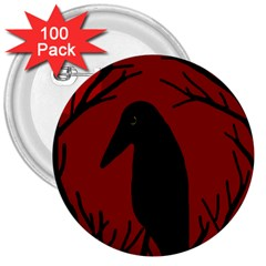 Halloween Raven   Red 3  Buttons (100 Pack)  by Valentinaart