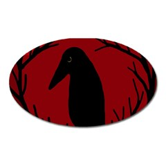 Halloween Raven   Red Oval Magnet by Valentinaart
