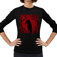 Halloween Raven   Red Women s Long Sleeve Dark T Shirts by Valentinaart