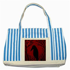 Halloween Raven   Red Striped Blue Tote Bag by Valentinaart