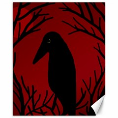 Halloween Raven   Red Canvas 11  X 14   by Valentinaart