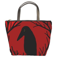 Halloween Raven   Red Bucket Bags
