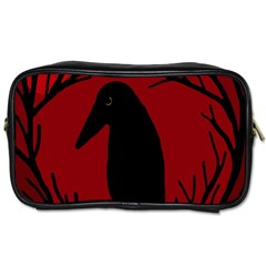 Halloween Raven   Red Toiletries Bags 2 Side by Valentinaart