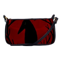 Halloween Raven   Red Shoulder Clutch Bags by Valentinaart