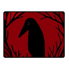 Halloween Raven   Red Fleece Blanket (small) by Valentinaart