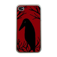 Halloween Raven   Red Apple Iphone 4 Case (clear)