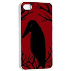 Halloween Raven   Red Apple Iphone 4/4s Seamless Case (white) by Valentinaart