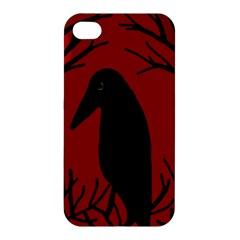 Halloween Raven   Red Apple Iphone 4/4s Hardshell Case by Valentinaart