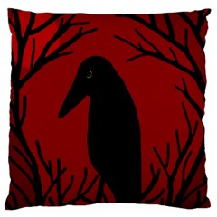 Halloween Raven   Red Large Cushion Case (one Side) by Valentinaart