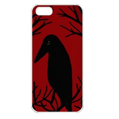 Halloween Raven   Red Apple Iphone 5 Seamless Case (white) by Valentinaart