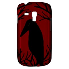 Halloween Raven   Red Samsung Galaxy S3 Mini I8190 Hardshell Case by Valentinaart