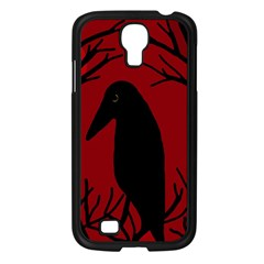 Halloween Raven   Red Samsung Galaxy S4 I9500/ I9505 Case (black) by Valentinaart