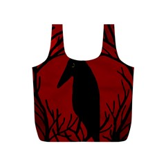 Halloween Raven   Red Full Print Recycle Bags (s)  by Valentinaart