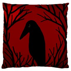 Halloween Raven   Red Large Flano Cushion Case (one Side) by Valentinaart
