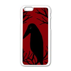Halloween Raven   Red Apple Iphone 6/6s White Enamel Case