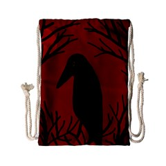 Halloween Raven   Red Drawstring Bag (small) by Valentinaart