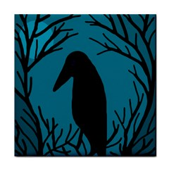 Halloween Raven   Blue Tile Coasters by Valentinaart