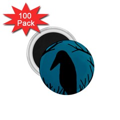 Halloween Raven   Blue 1 75  Magnets (100 Pack)  by Valentinaart