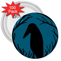 Halloween Raven   Blue 3  Buttons (100 Pack)  by Valentinaart