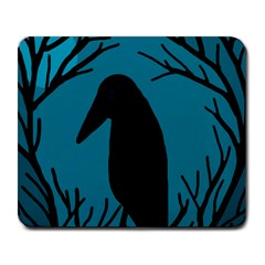 Halloween Raven   Blue Large Mousepads by Valentinaart