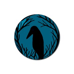 Halloween Raven   Blue Rubber Coaster (round)  by Valentinaart