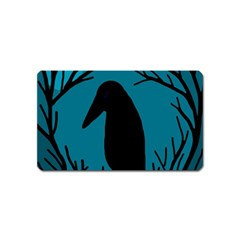 Halloween Raven   Blue Magnet (name Card) by Valentinaart
