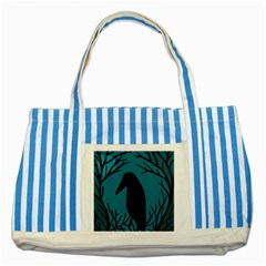 Halloween Raven   Blue Striped Blue Tote Bag by Valentinaart