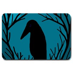 Halloween Raven   Blue Large Doormat  by Valentinaart