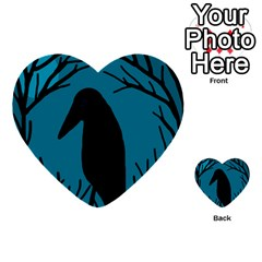 Halloween Raven   Blue Multi Purpose Cards (heart)  by Valentinaart
