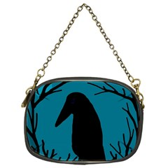 Halloween Raven   Blue Chain Purses (one Side)  by Valentinaart