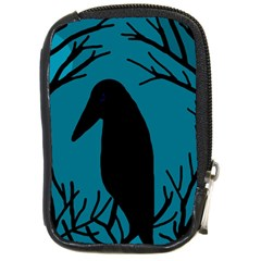 Halloween Raven   Blue Compact Camera Cases by Valentinaart