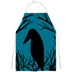 Halloween Raven   Blue Full Print Aprons by Valentinaart