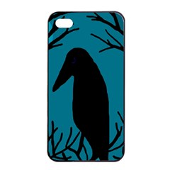 Halloween Raven   Blue Apple Iphone 4/4s Seamless Case (black) by Valentinaart