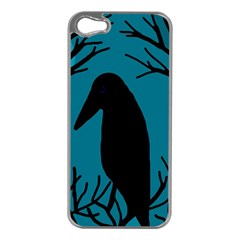 Halloween Raven   Blue Apple Iphone 5 Case (silver) by Valentinaart