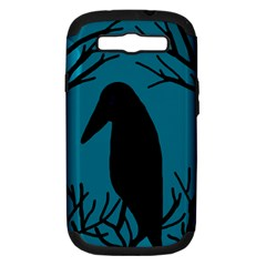 Halloween Raven   Blue Samsung Galaxy S Iii Hardshell Case (pc+silicone) by Valentinaart