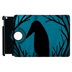 Halloween Raven   Blue Apple Ipad 2 Flip 360 Case by Valentinaart