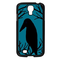 Halloween Raven   Blue Samsung Galaxy S4 I9500/ I9505 Case (black) by Valentinaart