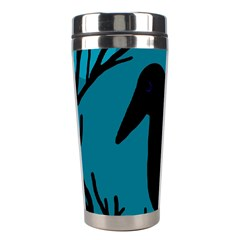 Halloween Raven   Blue Stainless Steel Travel Tumblers by Valentinaart