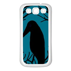 Halloween Raven   Blue Samsung Galaxy S3 Back Case (white)