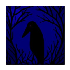 Halloween Raven   Deep Blue Tile Coasters by Valentinaart