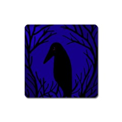 Halloween Raven   Deep Blue Square Magnet by Valentinaart