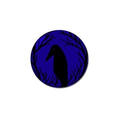 Halloween Raven   Deep Blue Golf Ball Marker (4 Pack) by Valentinaart